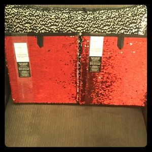 2 Red/Silver Sequin Collapsible Storage Bins.  NWT